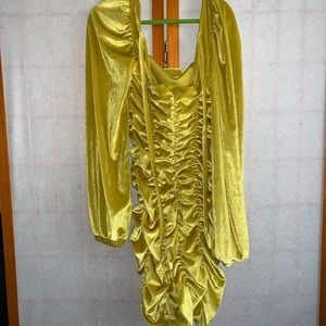 Yellow Velour bodycon dress